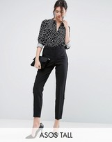 ASOS Tall ASOS TALL Tux Cigarette Pants With Sheer Fringe Detail