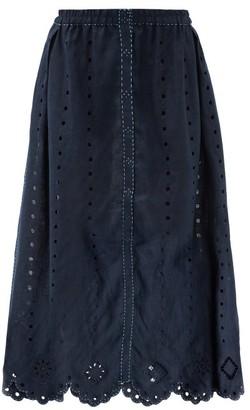 Vita Kin Charlie Broderie-anglaise Linen Midi Skirt - Navy