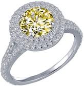 Lafonn Platinum Plated Round Canary Simulated Diamond & Halo Set White Simulated Diamond Ring