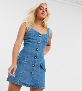 Asos DESIGN Petite denim button pinafore mini dress in blue