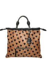 Printed Hearts Ponyskin Tote Bag