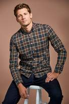 Mens Next Multi Navy Brushed Flannel Check Long Sleeve Shirt - Blue