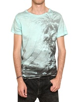 Balmain Palms Print Cotton Jersey T-Shirt