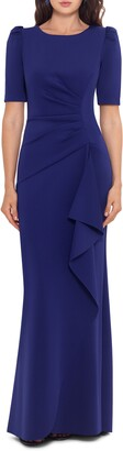 Xscape Evenings Side Ruched Ruffle Details Scuba Crepe Gown