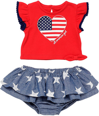 Baby Starters Girls' Tee Shirts Red - Red & Blue Flag Heart Angel-Sleeve Tee & Blue Star Ruffle Bloomer - Infant
