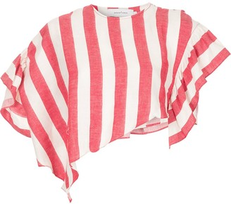 Marques Almeida Asymmetric Striped Cropped Top