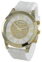 Geneva Platinum White & Gold Glitter Bracelet Watch