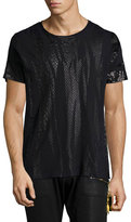 Robin's Jeans Short-Sleeve Shirt with Foil-Print, Black