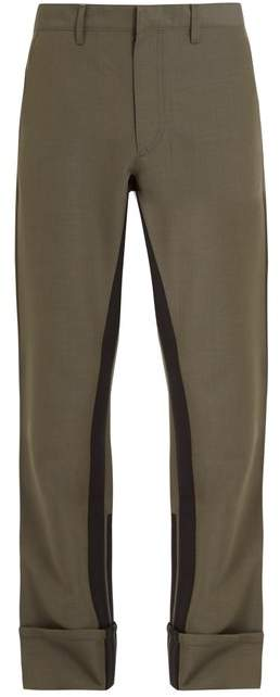 Prada Stripe Detail Mohair Blend Trousers - Mens - Khaki