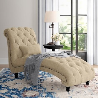 Three Posts Gowans Chaise Lounge Fabric: Heathered Beige Linen