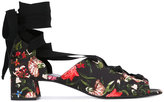 Erdem floral lace-up shoes - women - Cotton/Goat Skin/Leather/Viscose - 37