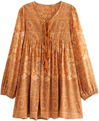 Goodnight Macaroon 'Joasia' Bohemian Print Mini Dress (2 Colors)