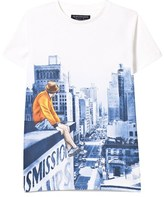 Mayoral White and Navy Cityscape Print Tee
