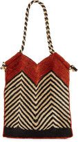 Vix Indo Chevron Woven Straw Beach Tote Bag, White