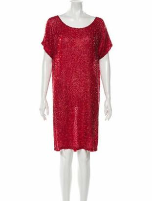 Naeem Khan Silk Knee-Length Dress Red