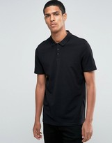 Asos Longline Pique Polo Shirt In Skater Fit In Black