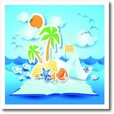 3dRose LLC ht_167258_1 SpiritualAwakenings_Beach - Beach tropical book pop up art with sun, star fish, seagulls - Iron on Heat Transfers - 8x8 Iron on Heat Transfer for White Material