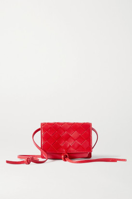 Bottega Veneta Mini Intrecciato Leather Shoulder Bag - Red