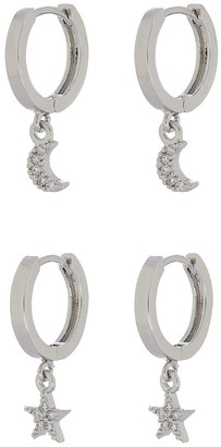 Accessorize Z Pl 2x Star And Moon Huggie Charm Hoops