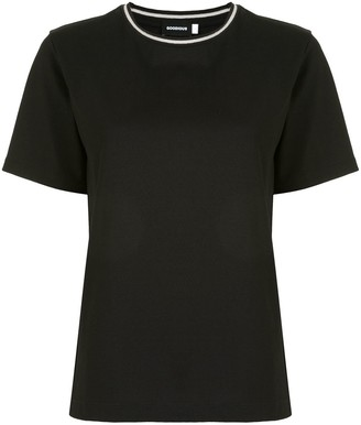Goodious contrast neck short-sleeved T-shirt