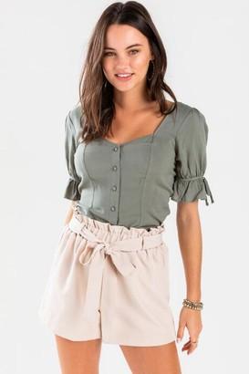 francesca's Delorra Sweetheart Button Front Blouse - Olive