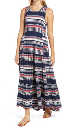 Caslon Tiered Smocked Waist Jersey Maxi Dress