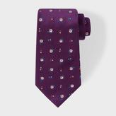 Paul Smith Men's Purple 'Wild Flower' Pattern Silk Tie