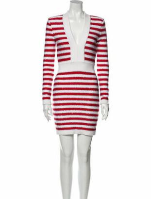 Balmain Striped Mini Dress Red