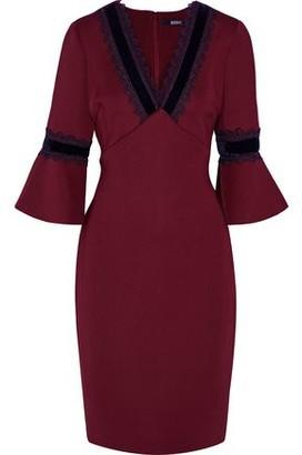 Badgley Mischka Velvet And Lace-trimmed Scuba Dress