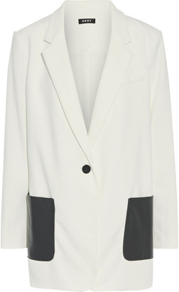DKNY Faux Leather-paneled Stretch-crepe Blazer