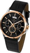 Jacques Lemans Sydney 1-1542C 42mm Steel Two Tone Case Calfskin Mineral Men's Watch