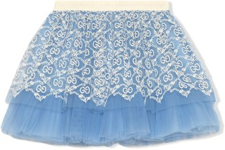 Gucci Kids GG-embroidered tulle skirt