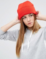 Asos Deep Turn Up Beanie In Red