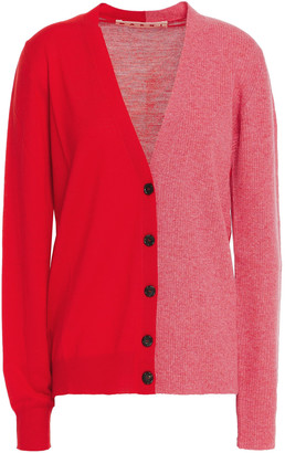 Marni Two-tone Ribbed-knit And Wool Cardigan
