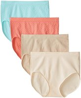Ellen Tracy Women's 4 Pack Jacquard Dot Full Brief Panty