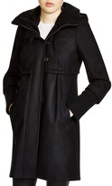 DKNY Knit Trim Hooded Coat