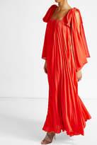 Elie Saab Pleated Crepe Maxi Dress