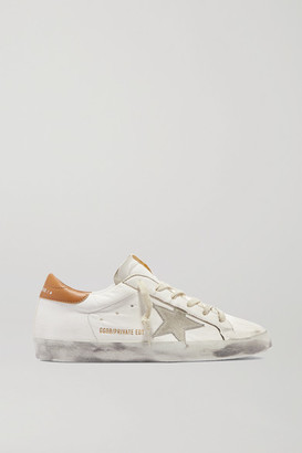 Golden Goose Superstar Distressed Suede-trimmed Leather Sneakers - White
