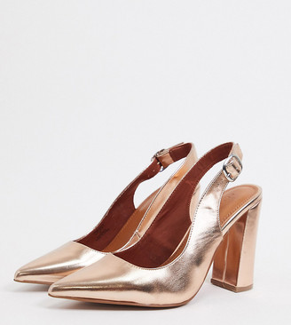ASOS DESIGN Wide Fit Penley slingback high block heels in rose gold