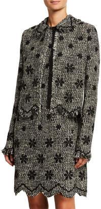 Giambattista Valli Floral Boucle Jacket with Zigzag Hem