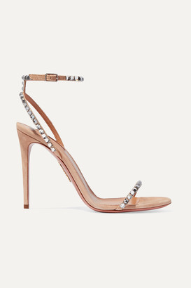 Aquazzura Very Vera 105 Crystal-embellished Suede Sandals