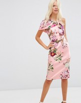 Asos One Shoulder Fold Midi Scuba Dress In Floral Print