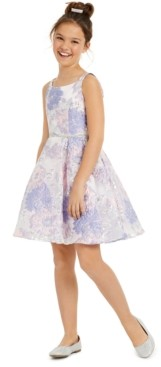 Rare Editions Big Girls Burnout Organza Fit & Flare Dress
