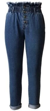Tinseltown Juniors' Button-Front Paperbag-Waist Jeans