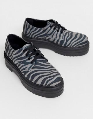Asos Design DESIGN Menace chunky flat shoes in zebra-Multi