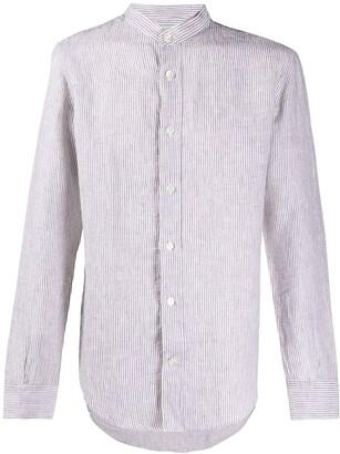 Eleventy Striped Collarless Shirt