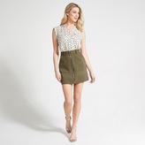Apricot Khaki Zip Through Mini Skirt