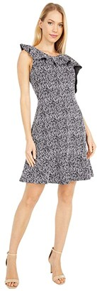 MICHAEL Michael Kors Jacquard Flounce Fit-and-Flutter Dress (Black/White) Women's Dress