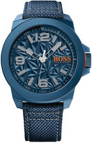 BOSS ORANGE Men's New York Blue Fabric Strap Watch 50mm 1513353