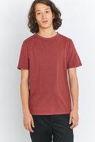 Uo Burgundy Pigment Dye Crewneck T-shirt